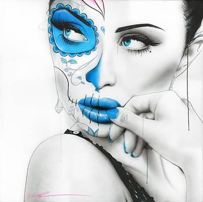 Sugar Skull - ' Vision Of Caeruleum ' Poster by Christian Chapman Art