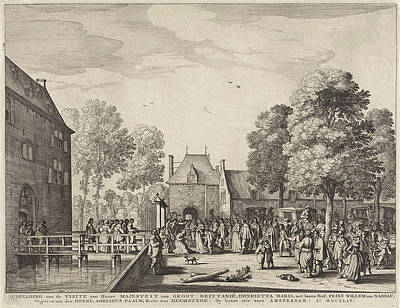 Visit Of Queen Henrietta Maria To Adriaen Peacock Poster by Anonymous And Claes Jansz. Visscher (ii)