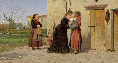 Visiting The Wet Nurse Poster by Silvestro Lega