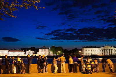 Visitors Along The Neva River Poster by Panoramic Images