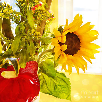 Vivid Cheery Sunflower Bouquet Poster by Maria Janicki