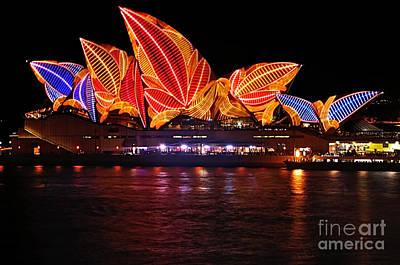 Vivid Sydney By Kaye Menner - Opera House ... Leaves Poster