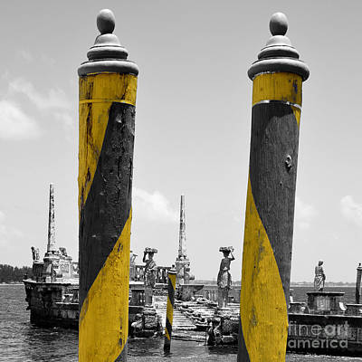 Vizcaya Boat Dock Posts And Breakwater Ship Biscayne Bay Miami Square Format Color Splash Digital Poster by Shawn O'Brien