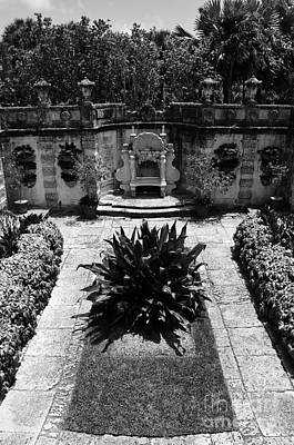 Vizcaya Mansion Museum Grounds Botanical Gardens Courtyard Miami Florida Vertical Black And White Poster by Shawn O'Brien