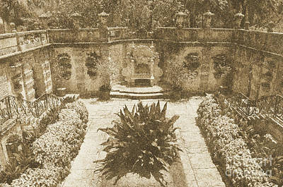 Vizcaya Mansion Museum Grounds Botanical Gardens Courtyard Miami Florida Vintage Digital Art Poster by Shawn O'Brien