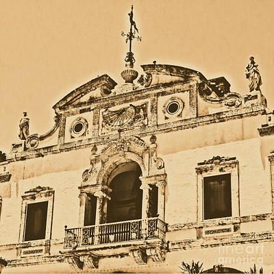 Vizcaya Mansion Museum Miami Florida Balcony Sundial Square Format Rustic Digital Art Poster