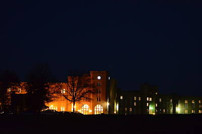 Poster featuring the photograph Vmi Night Lights by Cathy Shiflett