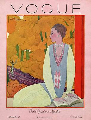 Vogue Cover Featuring A Woman Reading A Book Poster by Georges Lepape