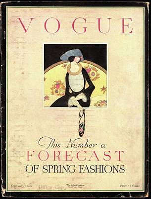 Vogue Cover Featuring A Woman Sitting On A Sofa Poster by Harriet Meserole