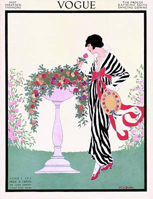 Vogue Cover Featuring A Woman Smelling A Rose Poster by Helen Dryden