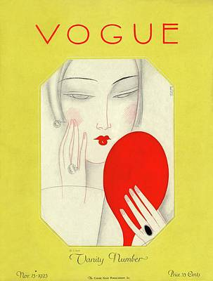 Vogue Cover Featuring A Woman With A Mirror Poster