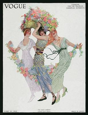 Vogue Cover Featuring Three Women With Flowers Poster