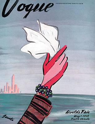 Vogue Cover Illustration Of A Gloved Hand Waving Poster