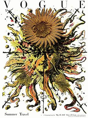 Vogue Cover Illustration Of A Sun With A Face Poster by Eugene Berman