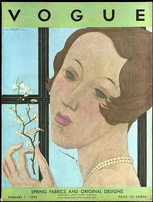 Vogue Cover Illustration Of A Woman Holding A Twig Poster by Georges Lepape