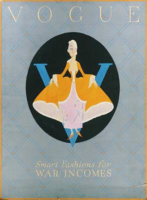 Vogue Cover Illustration Of A Woman In An Orange Poster by Dorothy Edinger