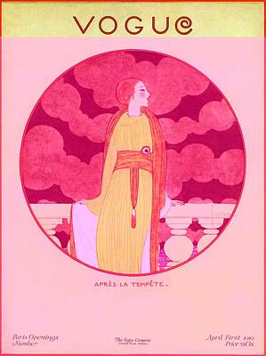 Vogue Cover Illustration Of A Woman Leaning Poster