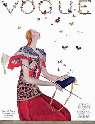 Vogue Cover Illustration Of A Woman Releasing Poster by Eduardo Garcia Benito