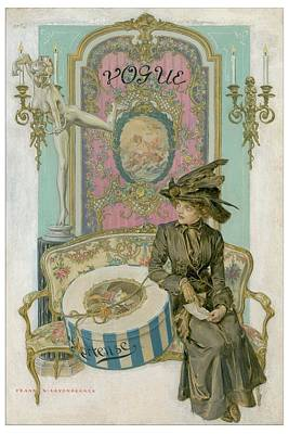 Vogue Cover Illustration Of A Woman Sitting Poster by Frank X. Leyendecker