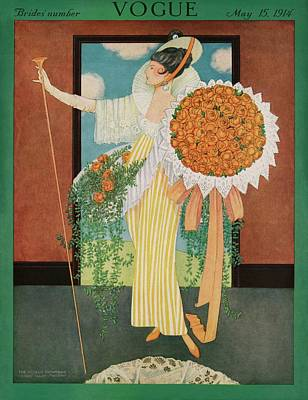 Vogue Cover Illustration Of A Woman Wearing Poster by George Wolfe Plank