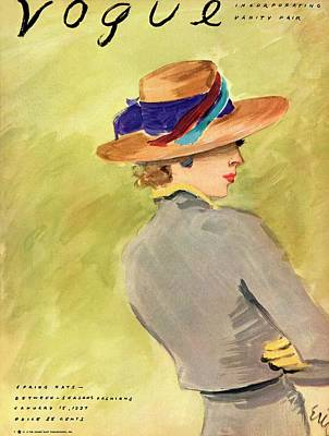 Vogue Cover Illustration Of A Woman Wearing Straw Poster