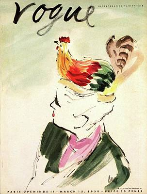 Vogue Cover Illustration Of A Woman With A Hen Poster
