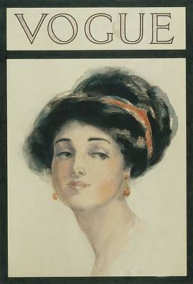 Vogue Cover Illustration Of A Woman With Black Poster by Helen Dryden