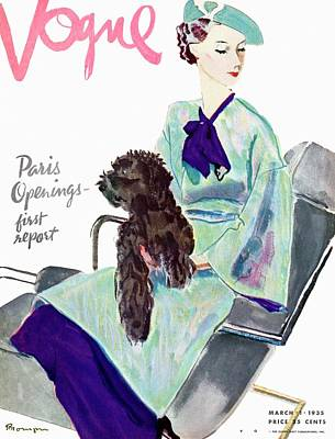 Vogue Cover Illustration Of A Woman With Dog Poster