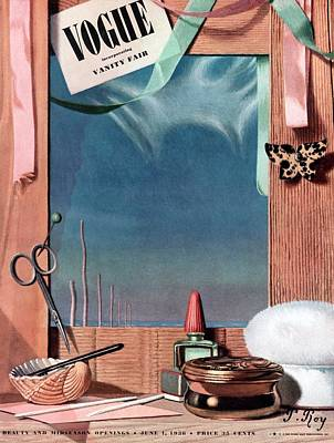 Vogue Cover Illustration Of Cosmetics In Front Poster