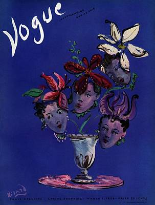 Vogue Cover Illustration Of Four Female Faces Poster