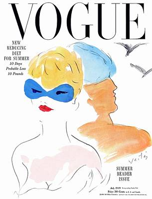 Vogue Cover Illustration Of Two Women Standing Poster