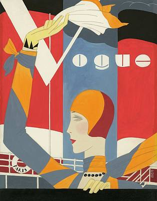 Vogue Cover Illustration Of Woman Waving Poster by Eduardo Garcia Benito