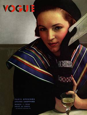 Vogue Magazine Cover Featuring A Model Wearing Poster by Edward Steichen