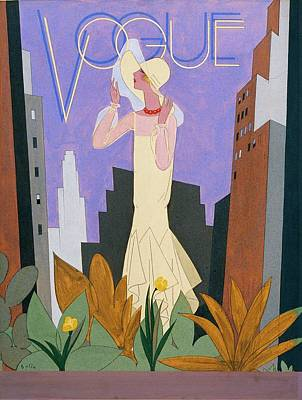 Vogue Magazine Cover Featuring A Woman In A White Poster by William Bolin