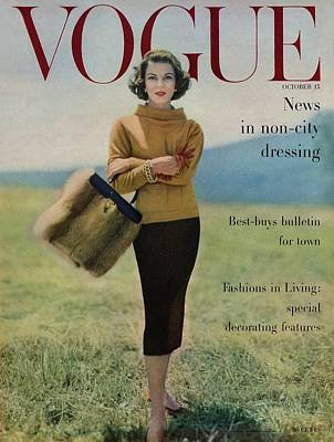 Vogue Magazine Cover Featuring Model Va Taylor Poster by Karen Radkai
