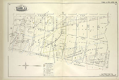Vol. 1. Plate, M. Map Bound By Roges Ave., City Line Poster