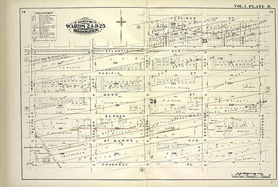 Vol. 1. Plate, R. Map Bound By Atlantic Ave., Herkimer St Poster