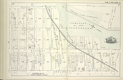 Vol. 2. Plate, S. Map Bound By Central Ave., Cemetery Poster