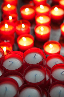 Votive Candles In A Cathedral, Como Poster