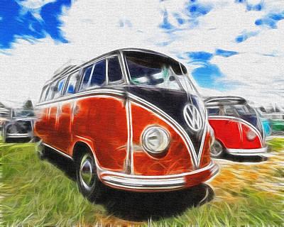 Vw Bus Canvas Paint Poster