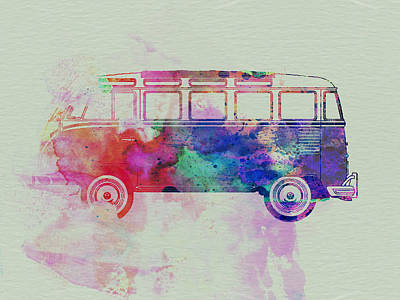 Vw Bus Watercolor Poster by Naxart Studio
