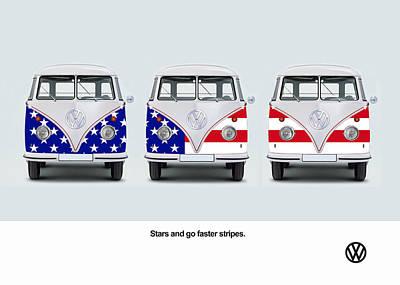 Vw Go Faster Stripes Poster by Mark Rogan
