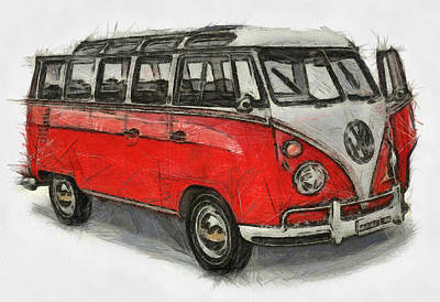 Poster featuring the painting Vw Van - Red Art Print by Georgi Dimitrov