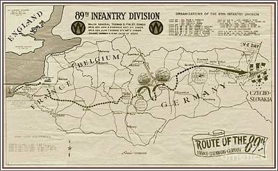 W W I I 89th Division Map Poster