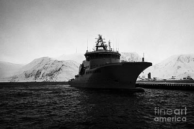 w340 kv barents sea norwegian coast guard kystvakt vessel Honningsvag finnmark norway europe Poster by Joe Fox