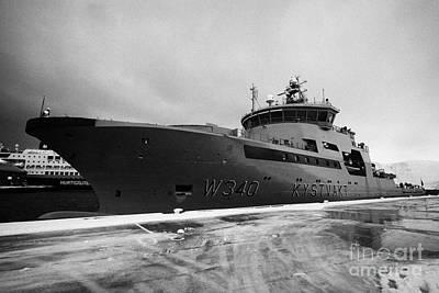 w340 kv barents sea norwegian coast guard kystvakt vessel Honningsvag finnmark norway Poster by Joe Fox