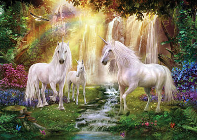 Waaterfall Glade Unicorns Poster by Jan Patrik Krasny