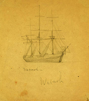 Wabash, Between 1860 And 1865, Drawing On Cream Paper Pencil Poster