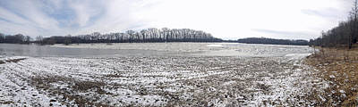 Poster featuring the photograph Wabash River Ice Jam Panorama by Tony Mathews