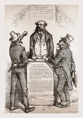 Wade Hamptons Dilemma, 1880, 19th Century Engraving Poster